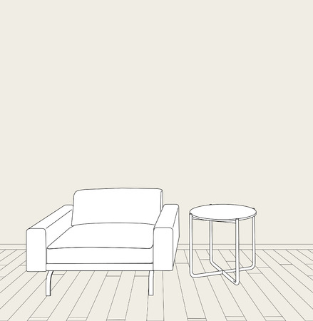 sketch of modern interior table and armchair.  Vector
