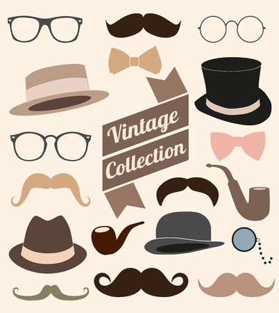 fake mustaches: set of collection vintage fashion elements illustration  Illustration