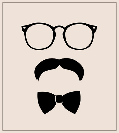 Hipster style set bowtie, glasses and mustaches  abstract illustration background Illustration