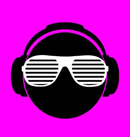 wayfarer: men dj in headphone print illustration  Illustration