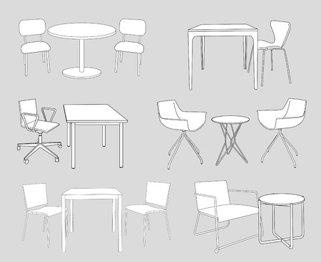 set of furniture. tables and chairs.  Vector