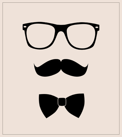 ray ban: Hipster style set bowtie, glasses and mustaches  abstract illustration background Illustration