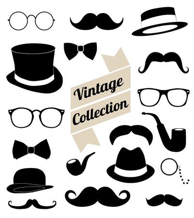 hombre con sombrero: conjunto de colecci�n del vintage elementos de la moda Vectores