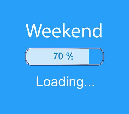 progress bar: inscription loading Weekend concept illustration background