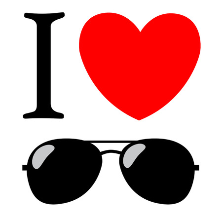 ray ban: print I love sunglasses illustration background  Illustration