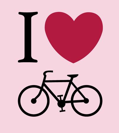 print I like bicycle illustration background Vector