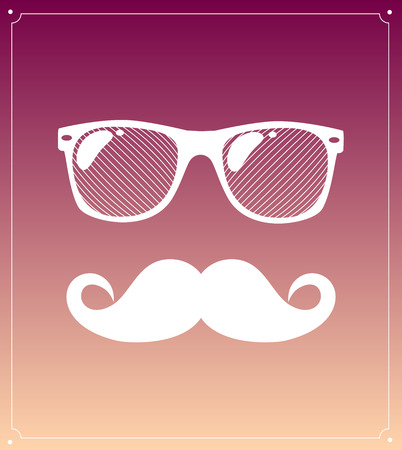 Hipster man style graphic elements, glasses and mustaches.  Illustration