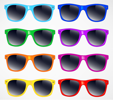 ray ban: set of sunglasses illustration background