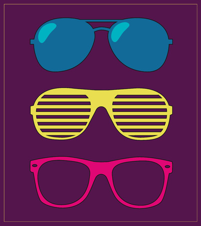 wayfarer: set of sunglasses.  Illustration
