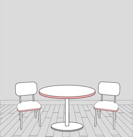 sketch of modern interior table and chairs.