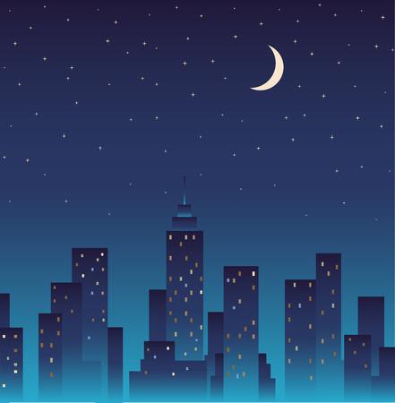 Silhouet van de stad en 's avonds met sterren en de maan in de hemel.