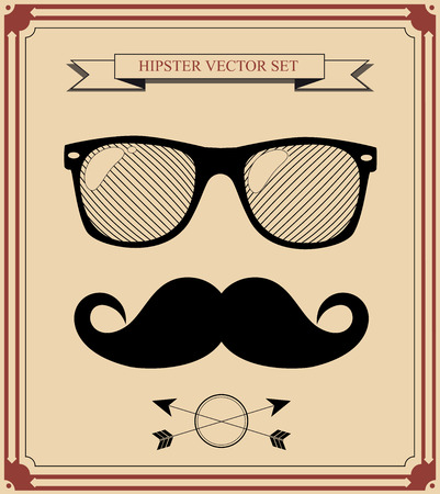 set of Hipster man style graphic elements.  イラスト・ベクター素材