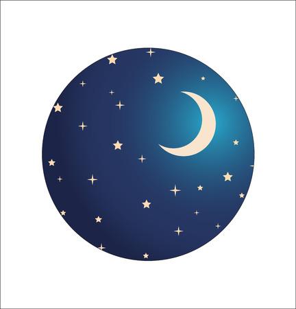 cartoon moon: night sky with stars and moon.