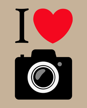 obsessed: print I love photography. vector illustration background Illustration
