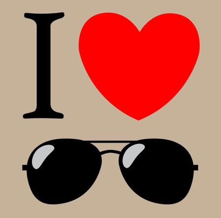 ray ban: print I love sunglasses illustration background Illustration