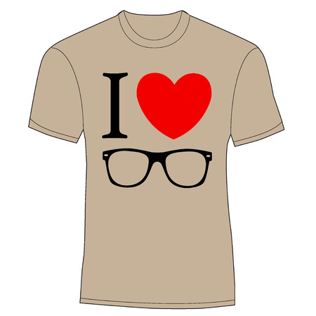 T-shirt design - print I love sunglasses. vector illustration background Vector