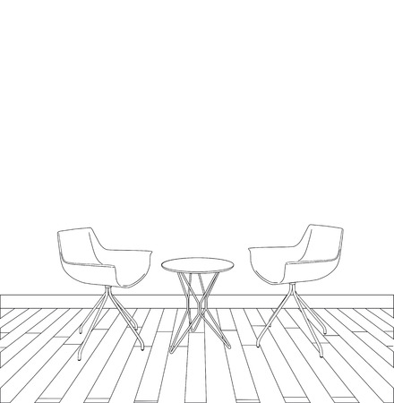 sketch of modern interior table and chairs.  Vector