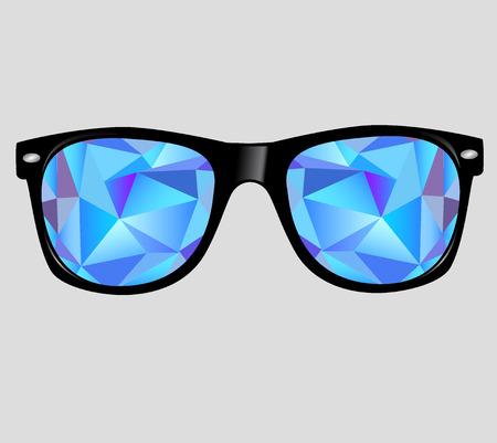추상적 인 기하학적 인 삼각형 선글라스.