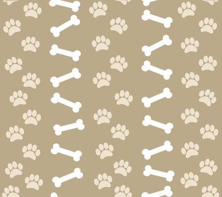 paw prints: background animal footprints and bones.