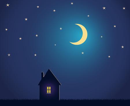 Casa y cielo nocturno con estrellas y la luna.