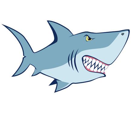 predatory: cartoon shark.  Illustration