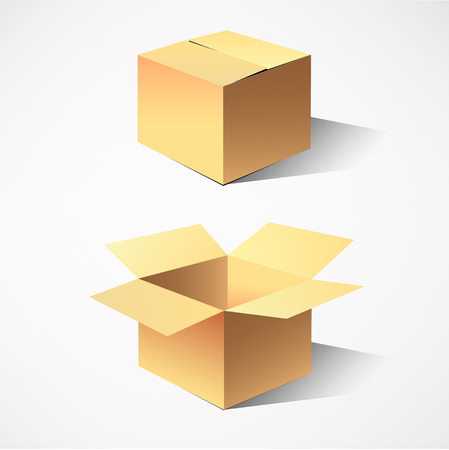 packer: cardboard boxes.  Illustration