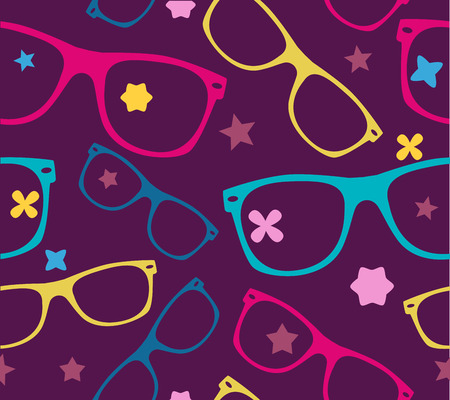 wayfarer: sunglasses and abstract elements seamless background