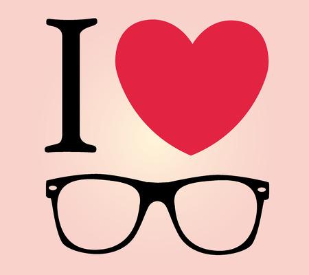 print I love sunglasses illustration background Illustration