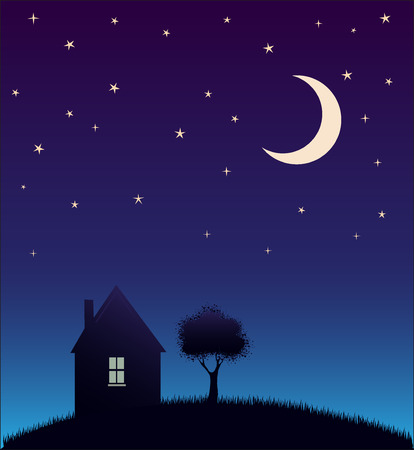 House and tree and night sky with stars and moon illustration Vector