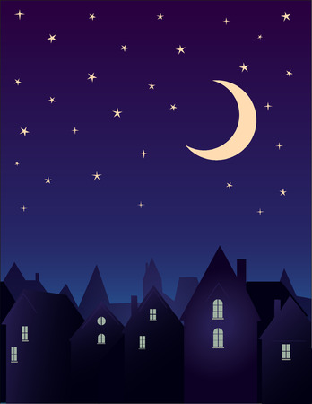 Silhouette of the city and night sky with stars and moon.  Vector