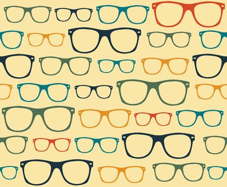 wayfarer: Seamless pattern retro sunglasses.