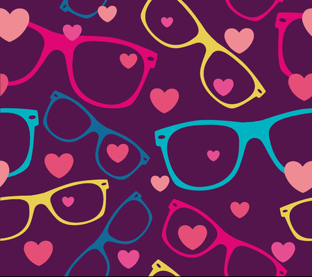 sunglasses and hearts seamless pattern  background Vector