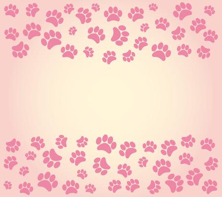 犬の足跡の背景。ベクトル図