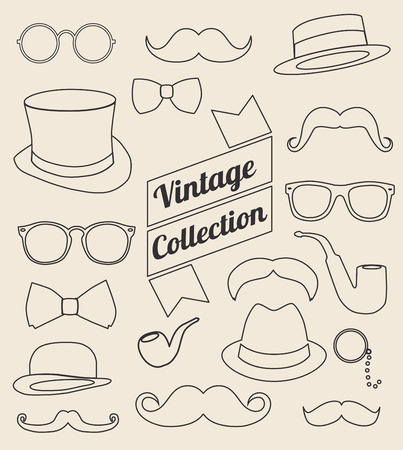derby hats: set of collection vintage fashion elements. vector illustration