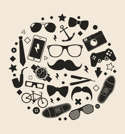 ray ban: Set of fashionable mens accessories. vector illustration backdrop Vector template for design. Illustration