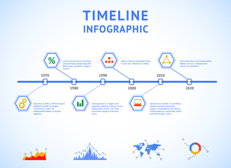 Timeline Infographic with diagrams and text Vector