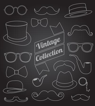 set of collection vintage fashion elements. vector illustration Vector