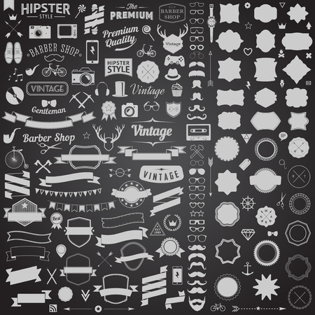stickers: Huge set of vintage styled design hipster icons. Vector signs and symbols templates for your design.The largest set of bicycle, phone, gadgets, sunglasses, mustache, anchor, ribbons and other things. Illustration
