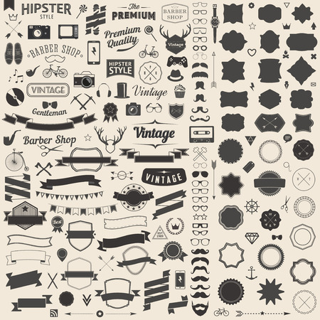Huge set of vintage styled design hipster icons. Vector signs and symbols templates for your design.The largest set of bicycle, phone, gadgets, sunglasses, mustache, anchor, ribbons and other things. Иллюстрация