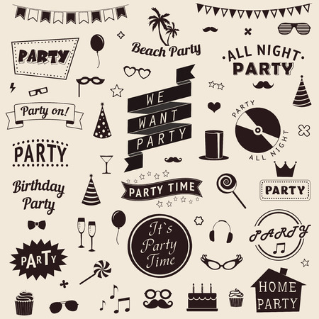 party streamers: Set of party icons. Vector signs and symbols templates for your design.