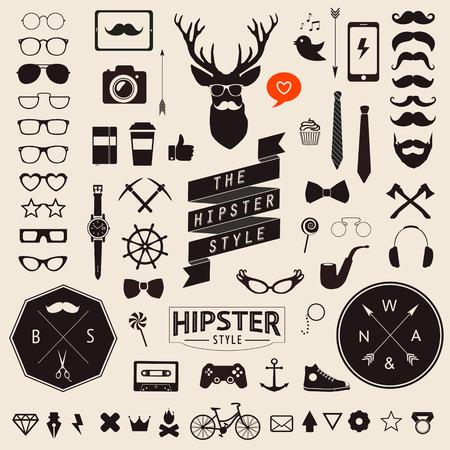 빈티지 스타일 디자인 힙 스터의 거대한 세트는 전화, 가제트, 선글라스, 수염, infographcs 요소와 다른 것들 귀하의 디자인에 가장 큰 세트 벡터 표지판