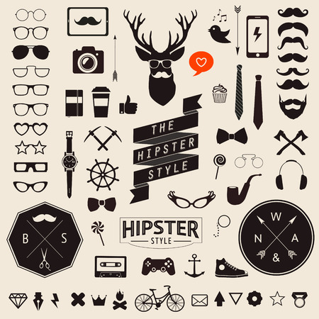 Huge set of vintage styled design hipster icons Vector signs and symbols templates for your design Largest set of phone, gadgets, sunglasses, mustache, infographcs element and other things. 免版税图像 - 34157928