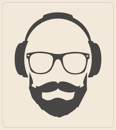 Hipster style set, glasses, mustaches, headphones abstract illustration background. vector flat template