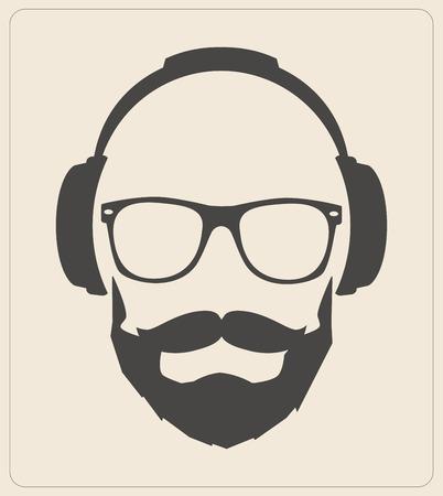 소식통 스타일 세트, 안경, 콧수염, 헤드폰 추상 그림 배경. 벡터 평면 템플릿