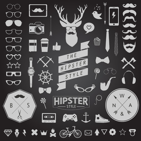 Huge set of vintage styled design hipster icons Vector signs and symbols templates for your design Largest set of phone, gadgets, sunglasses, mustache, ribbons infographcs element and other things  イラスト・ベクター素材