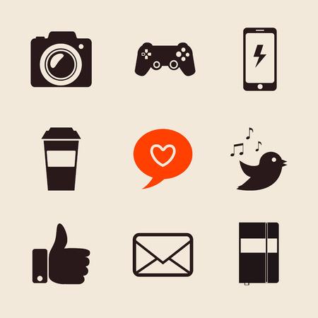 followers: set di icone social network illustrazione vettoriale con mano come, la posta, il cuore, foto camera, tazza di caff�. Vettoriali