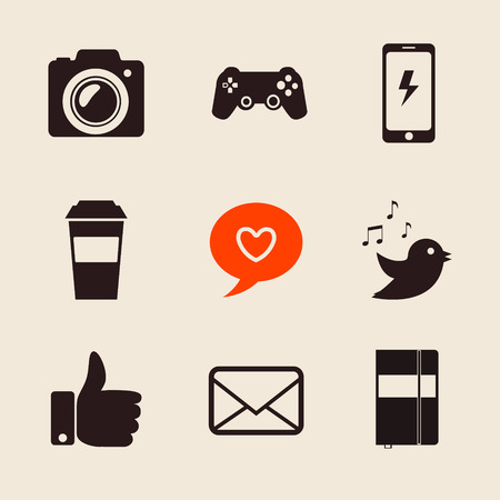 foto: set of social network icons vector illustration with like hand, mail, heart, foto camera,coffee cup.