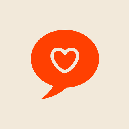 heart shape: Heart in speech bubble icon vector template