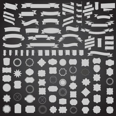 insignias: Conjunto de cintas y el marco, la insignia, etiqueta. plantillas de vectores para su dise�o