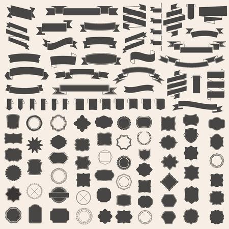ruban noir: ensemble de rubans et trame, insigne, étiquette. Modèles de vecteur pour votre conception Illustration